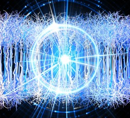 Artificial intelligence concept made of blue neurons