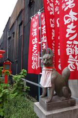"""日本 愛知 名古屋 大須 まねき稲荷の狐 Japan Aichi Nagoya Osu """"Maneki inari"""""""