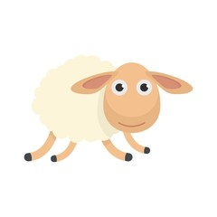 Running sheep icon. Flat illustration of running sheep vector icon for web isolated on white