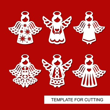 Set of christmas Decoration - silhouettes of Angels . Template for laser cutting, wood carving, paper cut and printing. Decoration for xmas tree. Vector illustration.