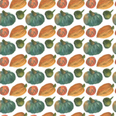 Orange and greenery pumpkins seamless watercolor pattern background with natural paper texture for the creative design of eco shop and bio store, organic food banner, yoga healthy food branding.
