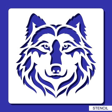 Stencil. Wolf face logo. Vector silhouette of a predator head. Template for laser cutting, wood carving, paper cut and printing.