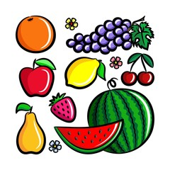 Set of fresh Fruits. Simple vector illustrations lemon, apple, orange, strawberry, pear, cherry, grape, watermelon.