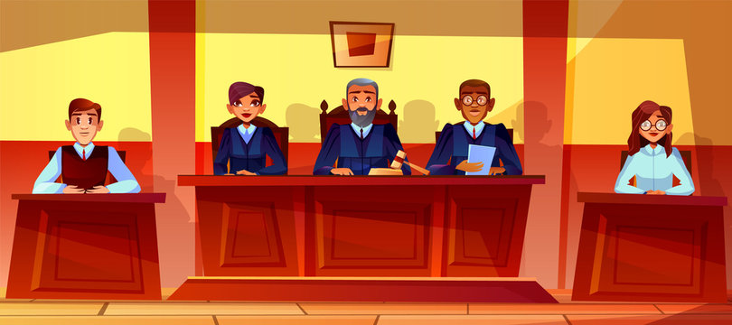 Judges at court hearing vector illustration of courtroom interior background. Prosecutor or advocate man, legal secretary woman or black Afro American assessor in glasses sitting at judge table