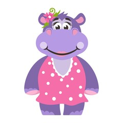 A hippopotamus (girl) in a pink dress with polka dots. With a flower. Cartoon character on a white background. Vector illustration.