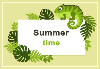 Summer tropical background with palm leaves and cartoon cute iguana. Rectangular frame. Place for text. Theme of plants. Vector floral background.