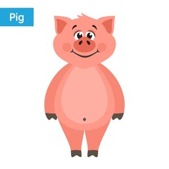 Cute pink pig. Cartoon character on a white background. Flat style. Colorful vector illustration.