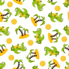 Seamless pattern with cute green crocodiles, palm trees, sand, sun. Vector illustration on a white background.
