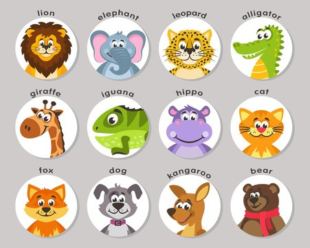 A set of animal portraits in a round frame. Lion, elephant, leopard, alligator, giraffe, iguana, hippo, cat, fox, dog, kangaroo, bear. Icons in the flat style. Cartoon characters. Vector.