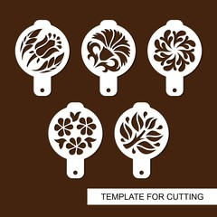 Set of coffee stencils. For drawing picture on cappuccino, macchiato and latte . Floral theme. Silhouettes of flowers and leaves. Template for laser cutting, paper cut  and wood carving. Vector.