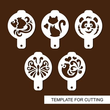Set of coffee stencils. For drawing picture on cappuccino, macchiato and latte . Silhouettes of fish, cat, panda, butterfly and bird. Template for laser cutting, paper cut  and wood carving. Vector.