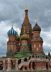 St. Basil's Cathedral on the red square in Moscow. Against the background of a cloudy sky.