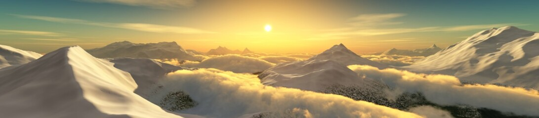 Peaks in the clouds at sunset. Panorama of the mountain landscape. 3D rendering