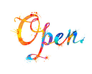 Open. Hand written word of splash paint