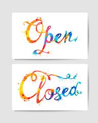 Open, closed. Door signs. Splash paint