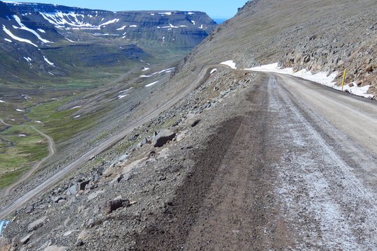 Winding gravel road to Bolafjall Mountain, Westfjords, Iceland