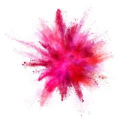 Coloured powder explosion isolated on white background