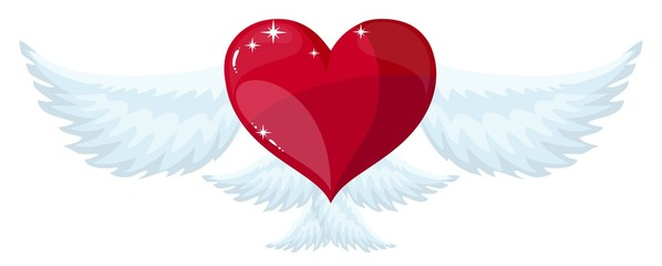 Winged Heart flying . Stock flat vector illustration.