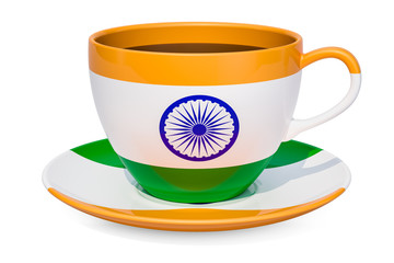 Cup of tea with a flag of India, 3D rendering