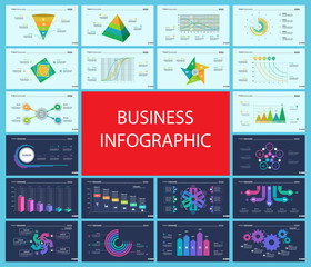Business infographic presentation slide design set can be used for workflow layout, annual report, web design. Statistics concept. Flow chart, option graph, process chart, timeline diagram, area chart