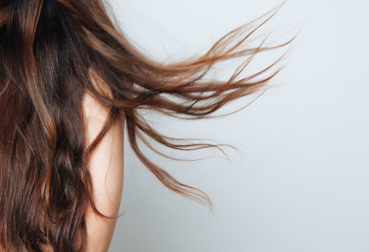 Long brown hair blown by wind naturally with space fot text on white background.Hair care concept.