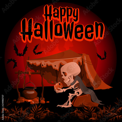A Poster On The Theme Of The Halloween Holiday Vector Cartoon Close Up Illustration