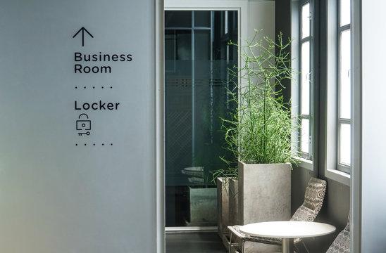modern cozy business room locker room signage
