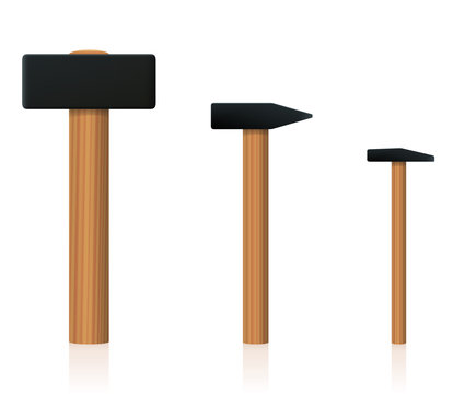 Hammer set. Big, normal and small upright standing basic hand tool to compare different size. Isolated vector illustration on white background.