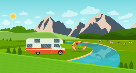 Retro camper car trailers caravan and deck chairs. Summer landscape with mountains and herd of cows on the field. Vector flat style illustration
