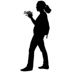 silhouette of a girl with a camera