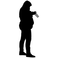 silhouette of a full woman with a camera
