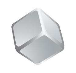 Blank white cube. White empty mockup vector box. Isolated gray, silver 3d cube on white background