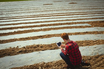 Man using digital tablet in the field