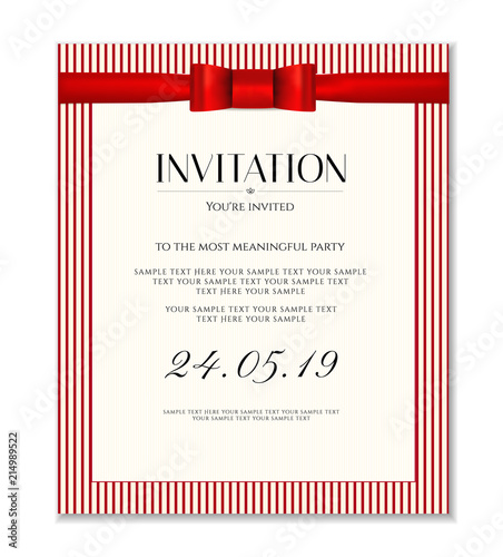 Invitation Design Template Save The Date Card Classic Red Stripy