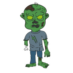 Vector illustration of angry green Cartoon Zombie