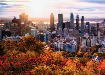 Custom blinds with your photo Montreal sunrise with colourful leaves