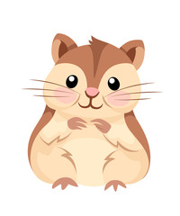 Cartoon animal illustration. Cute hamster sit and smiling. Flat character design. Vector illustration isolated on white background