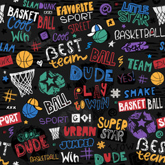 Vector sketch basketball seamless pattern for boys. Hand-drawing lettering, slogan. Print design for T-shirts, banners, flyers, children's party, clothes, social media. Little star, urban, cool dude.