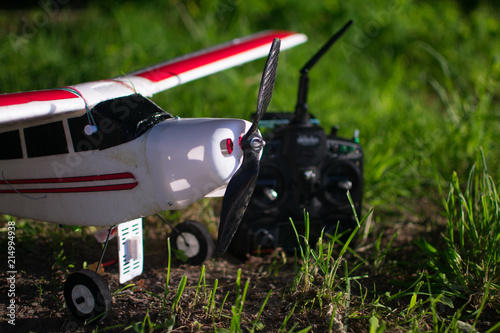 Close up of RC plane with carbon propeller on the ground