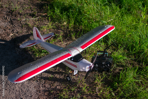 Red and white RC Plane out of styropor in nature with green