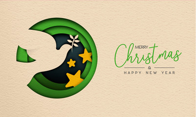 Christmas and New Year paper cut bird web banner