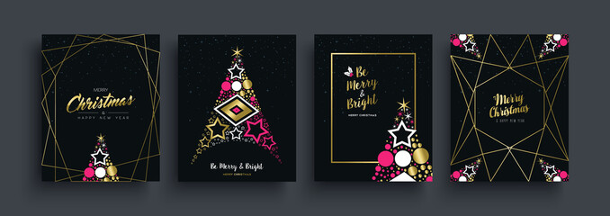 Christmas and New Year gold pine tree card set