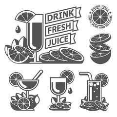 Drink fresh citrus orange lemon juice labels