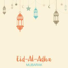 Islamic Festival of Sacrifice, Eid Al Adha Mubarak Greeting Card. Vector background