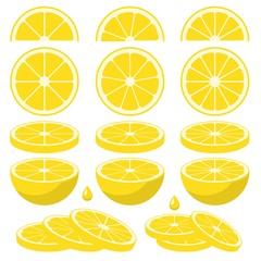 Set of fresh lemon slices