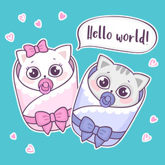 Cute new born baby cats saying Hello world. Colorful new born baby greeting card. Vector illustration