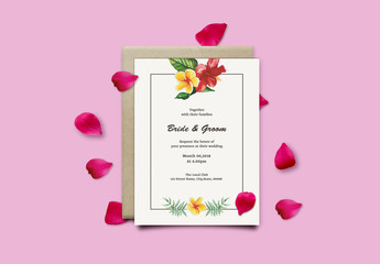 Wedding Invitation Layout with Tropical Flowers and Leaves