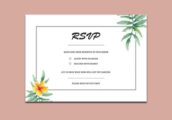 RSVP Card Layout with Tropical Flowers and Leaves