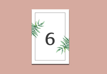Wedding Table Number Card Layout with Tropical Leaf