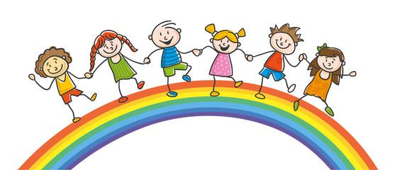 Kinder auf Regenbogen